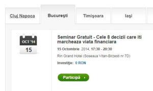 Cele 8 decizii care îți marchează viața financiară – seminar gratuit by Eusebiu Burcaș