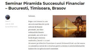 [Eveniment] Piramida succesului financiar – seminar by Valentin Nedelcu + 3 invitații pentru comunitatea noastră